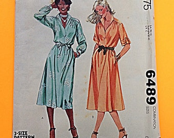 "70s SHIRT DRESS, Size 6-8-10, Bust 30 1/2"" to 32 1/2"", UNCUT, F/F, McCalls 6489."