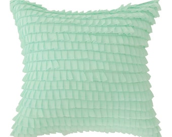 "Mint Frills Embellished Square Accent Throw  Cushion 18"" X 18"""