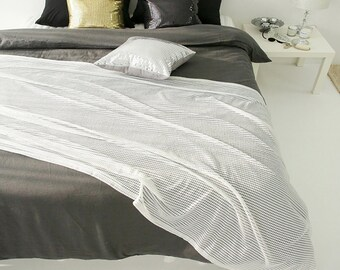 Decorative White Sheer with Silver Glitter Bed Runner Accent Bed Scarf  Perfect for Housewarming Gift