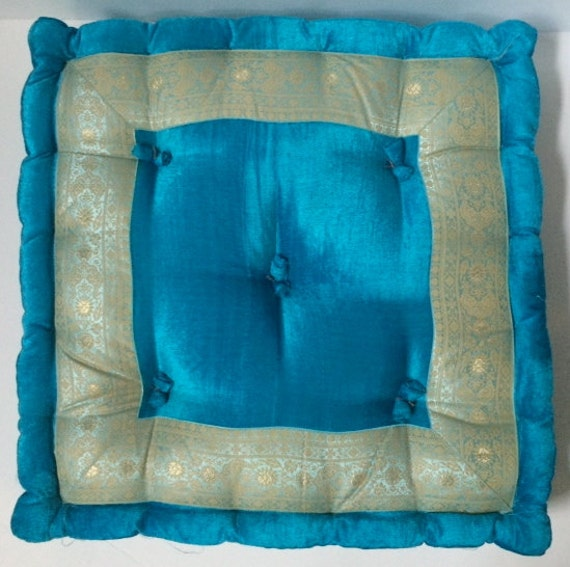 Floor pillow Meditation cushion Turquoise velvet by TaraDesignLA