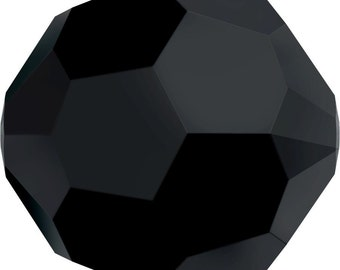 Swarovski Crystal Round Beads 5000 - 2mm 3mm 4mm 5mm 6mm 8mm 12mm 20mm - Jet