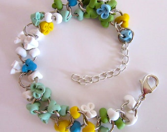 flowers - spring - handmade bracelet