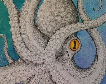 Octopus pen and ink with watercolor  8x10 print