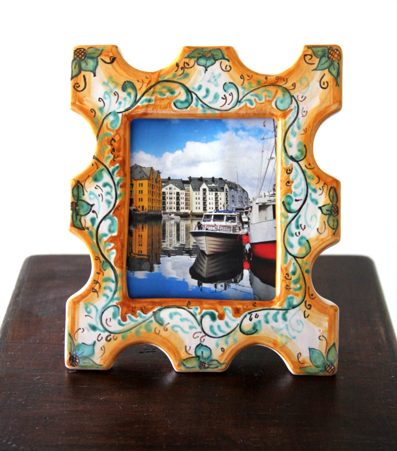 Custom ceramic frame picture frame frames customized gift ceramic custom ceramic frame picture frame frames customized gift ceramic artistic handpainted italian majolica pottery frame personalized italy jeuxipadfo Image collections