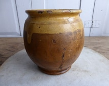 Antique French small terracotta glazed olive oil jar