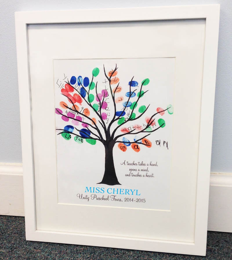 Teacher thumbprint tree gift fingerprint tree a teacher takes for Friendship tree template