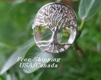 Tree of life ring in 92.5 sterling silver, boho, gypsie ring