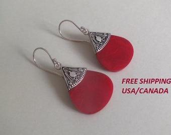 Silver coral earrings; 92.5 sterling silver; boho, gypsie earrings