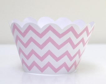 Pink Chevron Cupcake Wrappers Pack of 12 Party Decor