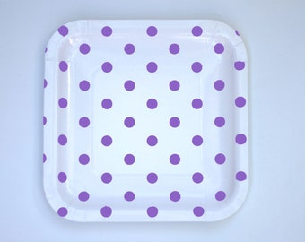 Square Plates Lavender Purple Polka Dot Pack of 12 Paper Goods Party SUpplies
