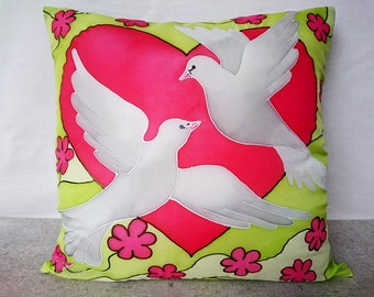 Wedding throw pillow Wedding decoration Wedding gift Anniversary gift Engagement gift Love gift Hand painted silk pillow Two Doves in love