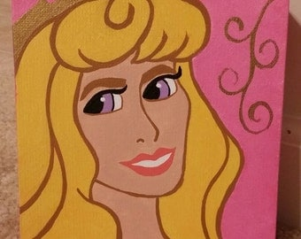 CLEARANCE! Inspired by Sleeping Beauty Princess Aurora Portrait Hand-Painted Canvas Disney Princesses