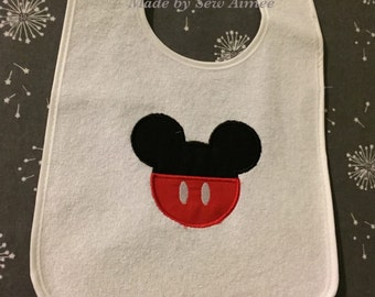 Embroidered Mickey Mouse bib