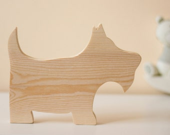 Wooden Scottie Dog Ornament