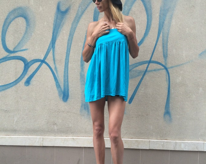 Open Back Oversize Blue Top, Casual Tunic Top, Sleeveless Top, Loose Asymmetrical Top, Party Tunic By SSDfashion