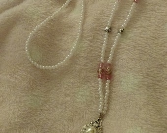 Pearl with pink accents lanyard necklace
