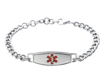 Ladies Stylish Medical Alert ID Tag Chain Bracelet-Red-Free Custom Engraving, Card, Apps+1203RE