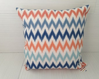 Blue and Orange Ikat Chevron Pillow Cover  *ON SALE