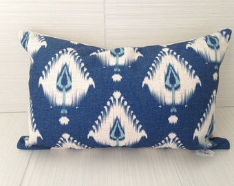 Navy Blue Ikat Bolster Pillow Cover *ON SALE