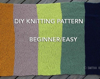 Easy Knitting Stitches For A Large Blanket : Easy knitted blanket Etsy