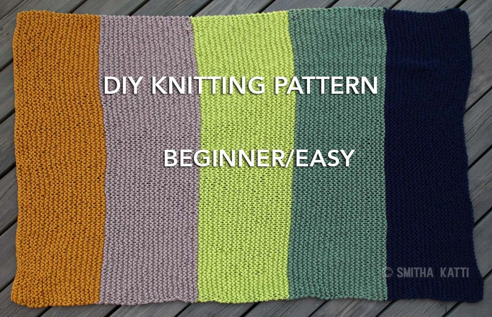 DIY KNITTING PATTERN Easy/ Beginner Chunky Blanket 5 Color