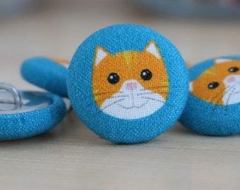Fabric Covered Buttons - Cat on Teal - 6 Medium Fabric Buttons