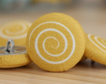 Fabric Covered Buttons - Spiral on Yellow - 1 Medium Fabric Buttons