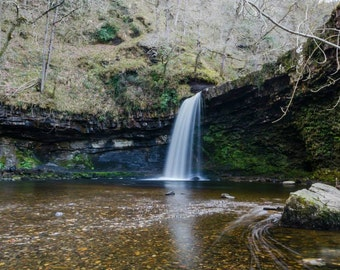 Wales, Welsh landscape photography, Waterfall photo, Waterfalls, Wall art, River photo Wales,