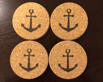 Wood Burned Cork Coasters Nautical Anchor Set of 4 ~ Pyrography