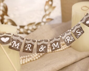 Mr. & Mrs. Personalized Cake Topper, Rustic Cake Banner, Wedding Cake deco, Wedding Cake Topper, Rustic Wedding Cake Banner, Shabby Chic