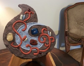 SALE Sculpture Cast Stone Blue Brown Yin and Yang with Blue Agate and Red Jasper by Pietra Stone Art, Abstract Sculpture