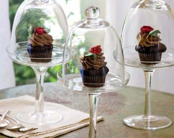 Glass Cupcake Stand Pedestal with Dome / Cloche, Flower Girl, Bridesmaid gifts, Wedding Decor by Pepperberry Market