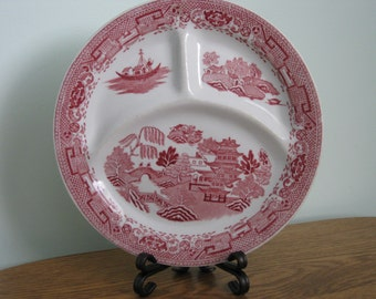 Pink Willow Divided Plate ,Cafe Style