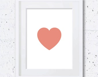 Coral Heart Print,Heart,Coral Heart Silhouette,Coral Art Print,Nursery Animal Print,Printable Art,Downloadable Print,Wall Print,Minimal Art