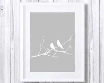 Two Love Birds Print, White Birds Silhouette, Art Print, Grey, Nursery Animal Print, Printable Art, Downloadable, Wall Decor, Gray