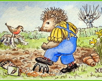 Hedgehog's Springtime Dig. ACEO print from my watercolour illustration.