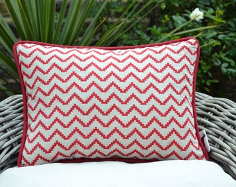 Red Zig-Zag Pillow Cover
