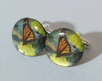 Monarch Butterfly Cufflinks  - Detailed Macro Photographic Men's Jewelry