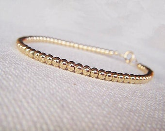Gold Ball Bracelet –  Perfect Layering Bracelet, 14K Gold Filled Bracelet, Gold Bracelet Dainty, Beaded Bracelet Stack, Stackable Bracelets