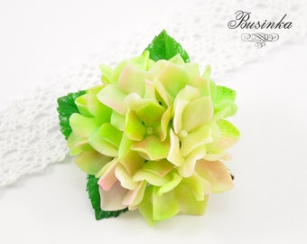 Green Hydrangea flowers Brooch & Hair Clip * hydrangea jewelery * flower brooch * green hydrangea * hydrangea Brooch * hydrangea hair clip *