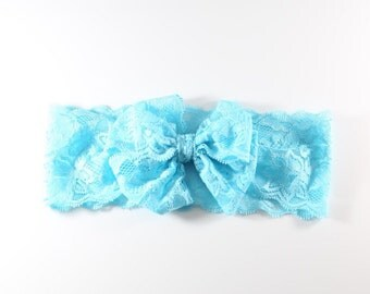 LoveTiesUs Lace Headband in Light Blue