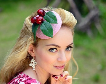 Fascinator Pink Cherry Headpiece Rockabella 1950 - Cherrybomb