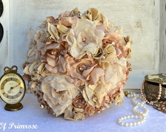 Vintage/Shabby Chic Handmade, Fabric Flower Wedding Bouquet. Neutral Tones, Rose Gold Embellishments