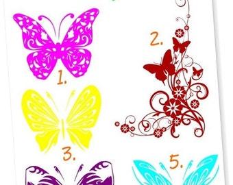 Butterfly vinyl decal (1 sticker total)