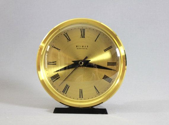 vintage mid century modern brass table clock desk clock weimar gdr
