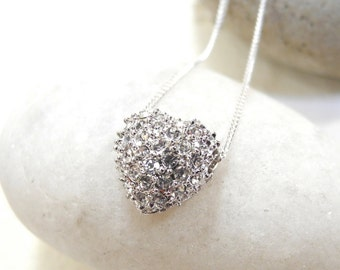 Rhinestone Heart Necklace, Pave Heart Necklace, Heart Necklace, Rhinestone Heart Pendant, Heart Pendant, Heart Charm