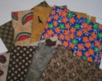 Fat Quarters  8 Bundle  Assortment 100% Cotton ,Quilting,sewing,scrap booking,deco h