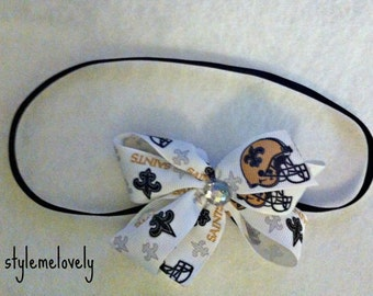 New Orleans Saints Baby Girl Boutique Bow Elastic Headband