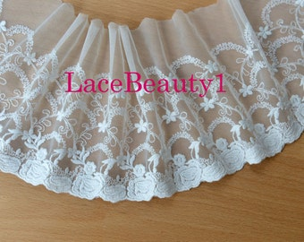 White mesh lace trim embroidery lace trim Vintage lace trim floral lace trim White Lace Trim 16cm width 1 Yard