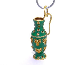 Etruscan 18k Yellow Gold Green Enamel Vase Urn Water Pitcher Charm Pendant Slide